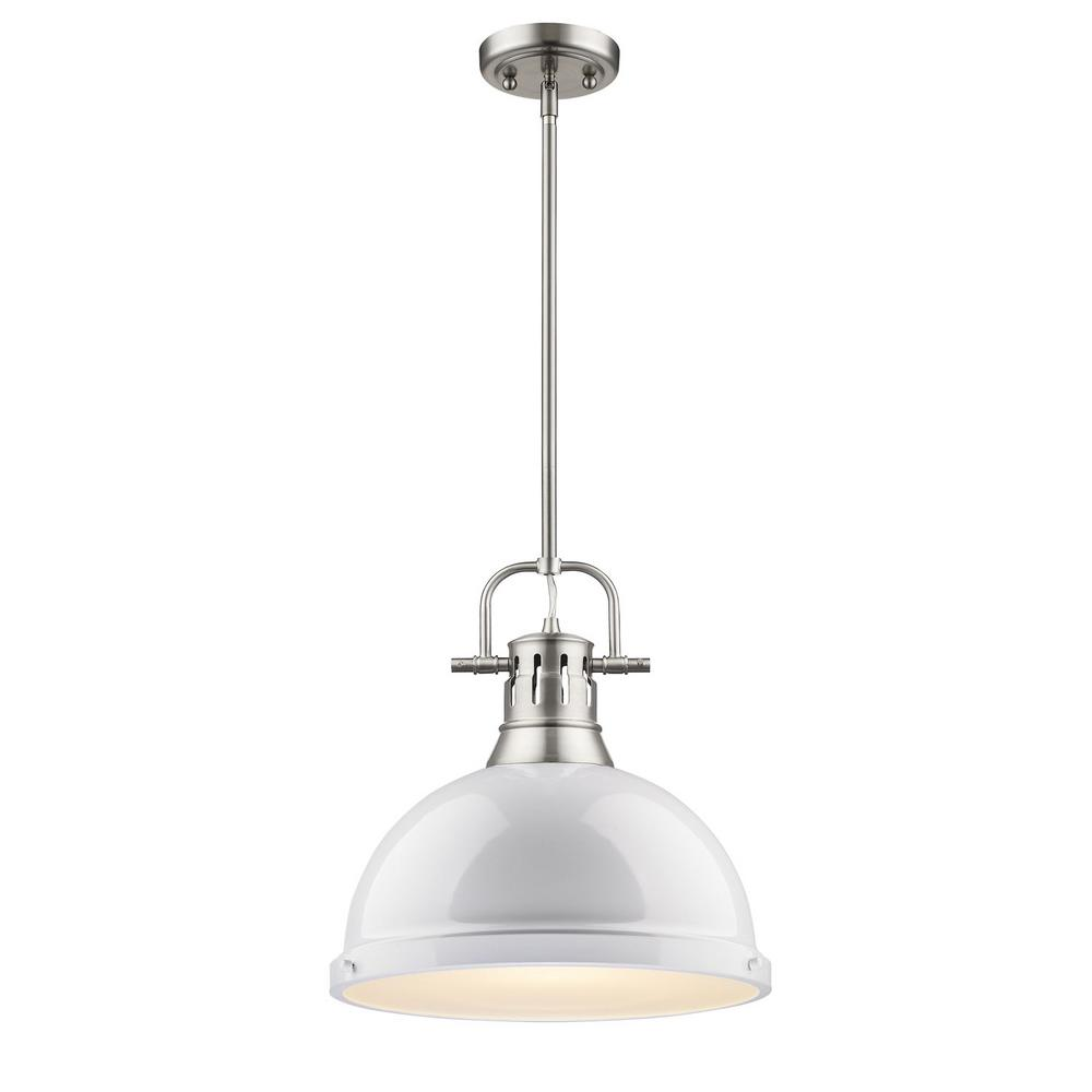 Duncan 1-Light Pewter Pendant with Rod with White Shade  sc 1 st  The Home Depot & Progress Lighting 1-Light White Pendant with Metal Shade-P5094-30 ... azcodes.com