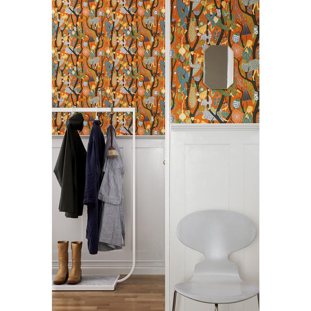 57.8 sq. ft. Melodi Orange Folk Wallpaper