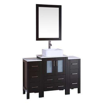 48 in. W Single Bath Vanity with Pheonix Stone Vanity Top in White with White Basin and Mirror