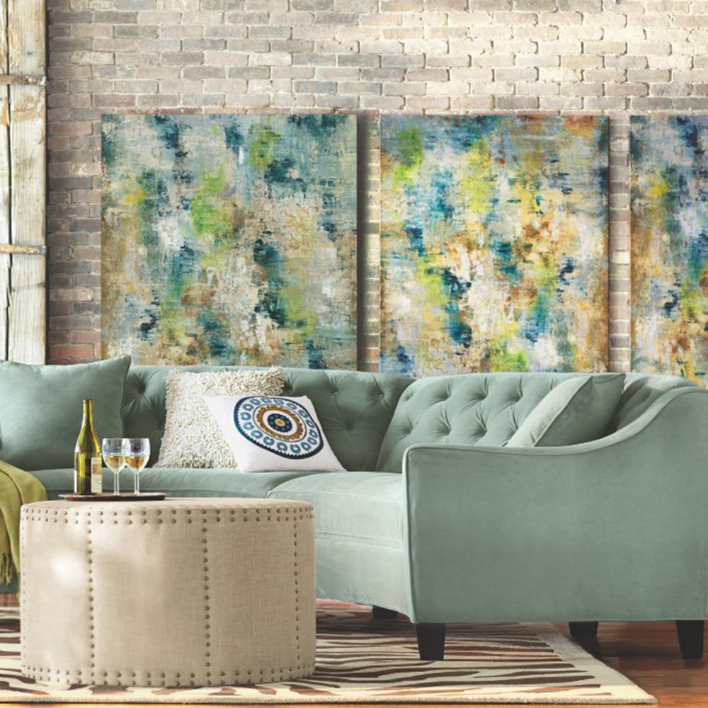 Home Decorators Collection Riemann 2-Piece Microsuede Blue Mist Sectional