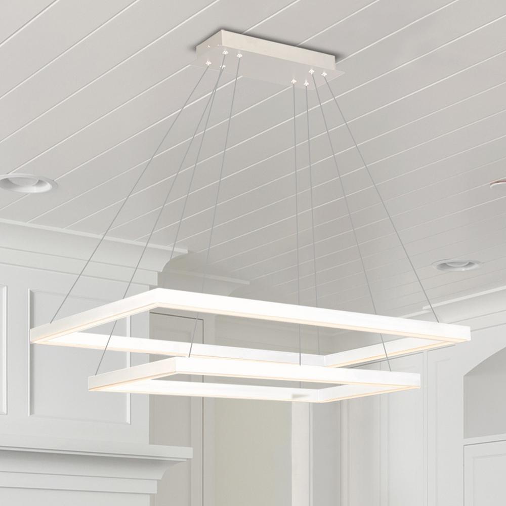 Atria Duo Rectangular 92-Watt White Integrated LED Chandelier