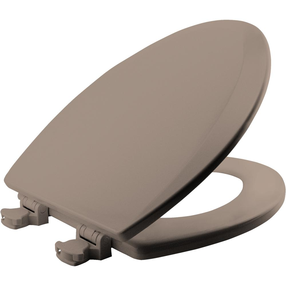 Lift-Off Elongated Closed Front Toilet Seat in Fawn Beige