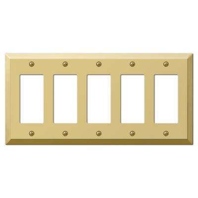Century 5-Gang Decora Wall Plate - Polished Brass