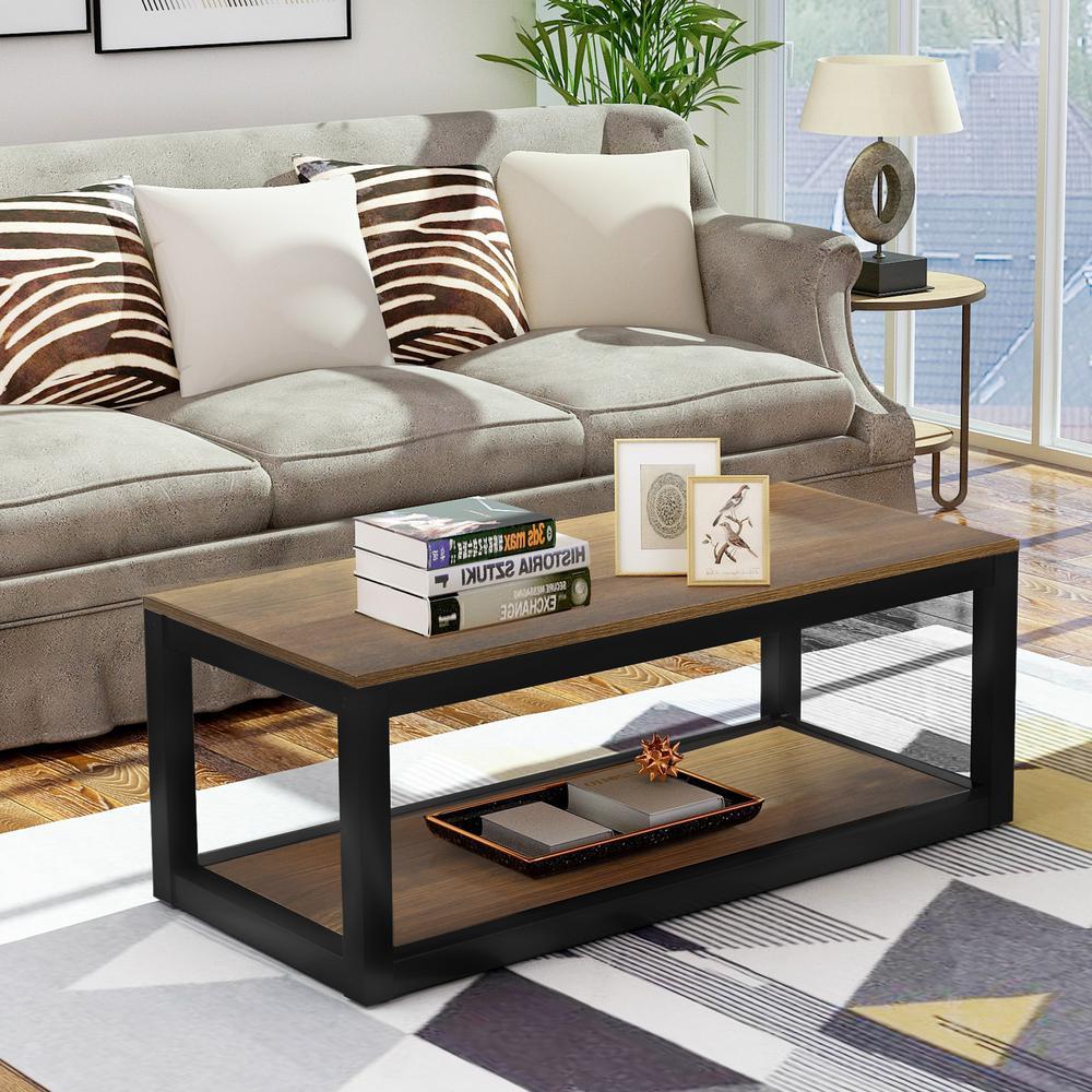 Industrial Design Brown Rectangular Coffee Table
