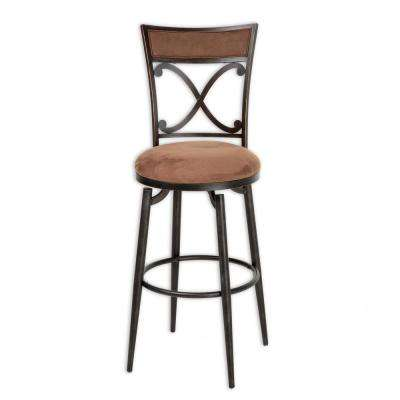 30 in. Montgomery Metal Bar Stool with Cocoa Microfiber Swivel-Seat and Blackened Bronze Frame Finish