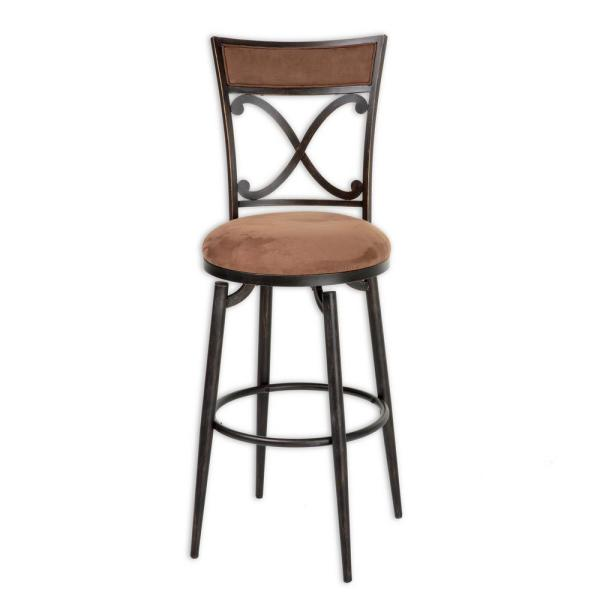 Fashion Bed Group 30 in. Montgomery Metal Bar Stool with Cocoa Microfiber Swivel-Seat and Blackened Bronze Frame Finish