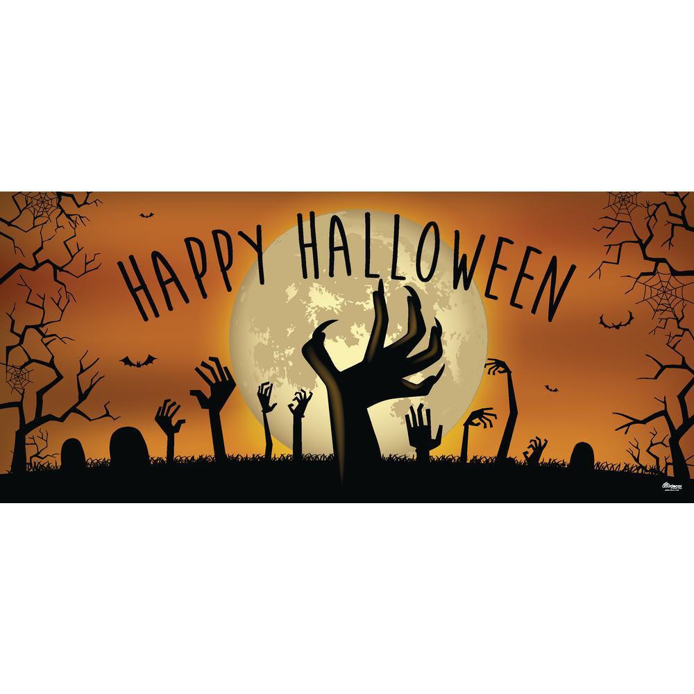7 ft. x 16 ft. Happy Halloween Graveyard Zombie Hands Halloween Garage Door Decor Mural for Double Car Garage