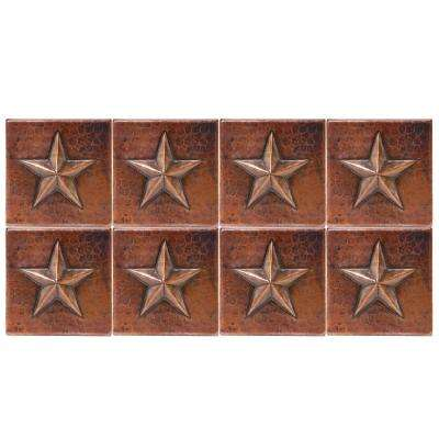 4 in. x 4 in. Hammered Copper Star Decorative Wall Tile in Oil Rubbed Bronze (8-Pack)