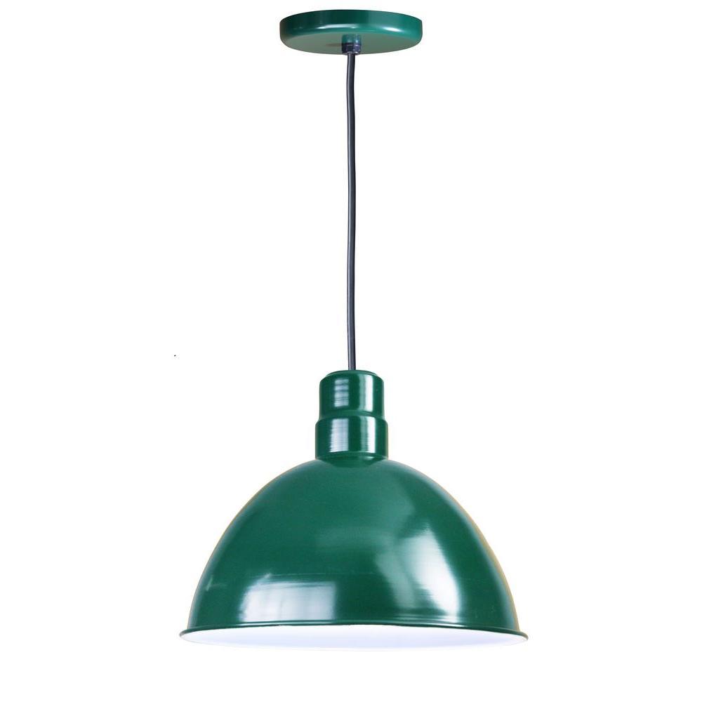 1-Light Outdoor Green Deep Bowl Light