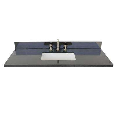 Ragusa II 49 in. W x 22 in. D Granite Single Basin Vanity Top in Black with White Rectangle Basin
