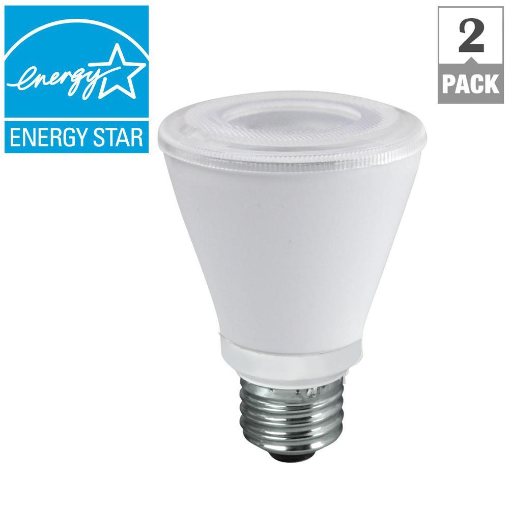 50W Equivalent Bright White PAR20 Dimmable CEC LED Spot Light Bulb (2-Pack)