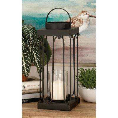 Black Tin and Clear Glass Lantern Candle Holder (Set of 2)
