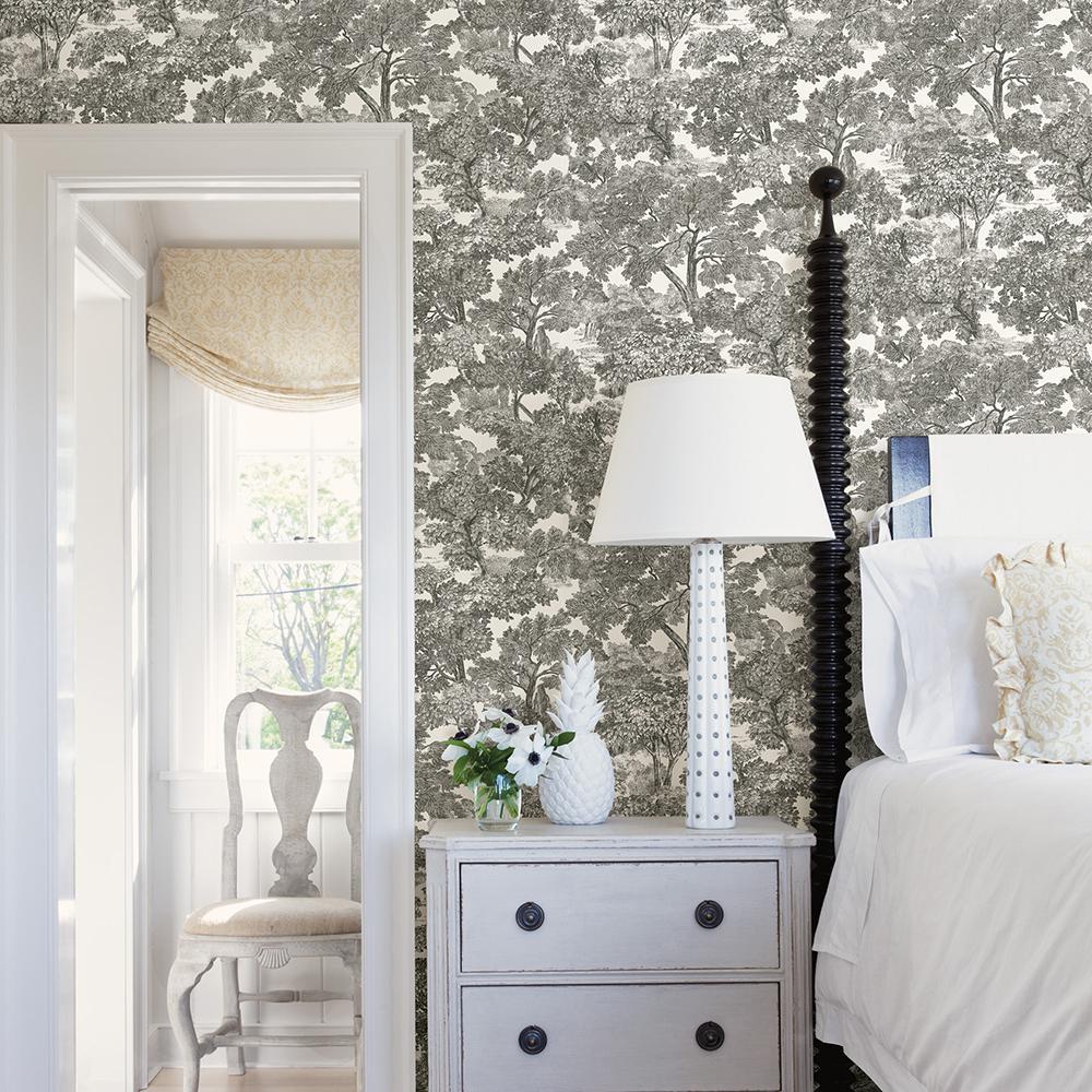 56.4 sq. ft. Spinney Black Toile Wallpaper