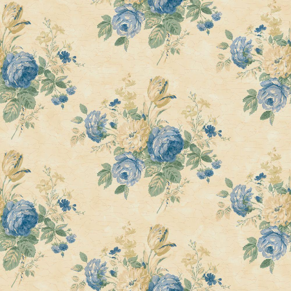 The Wallpaper Company 8 in. x 10 in. Blue and Yellow Victorian Floral Bouquet Wallpaper Sample