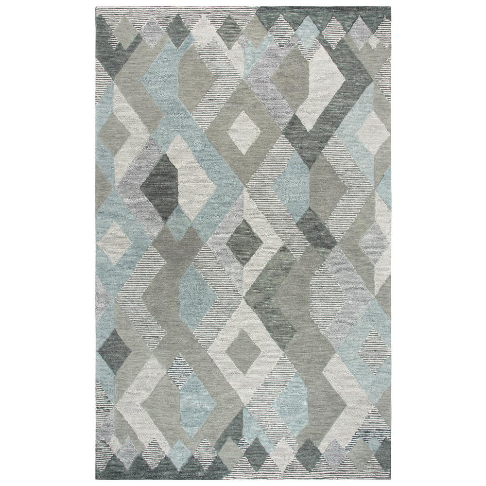 Rizzy home idyllic gray multicolor geometric 8 ft x 10 ft for Geometric print area rugs