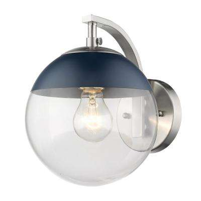 Pewter Dixon Sconce with Clear Glass and Navy Cap