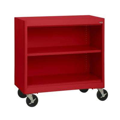 Radius Edge Red Mobile Steel Bookcase