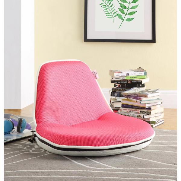 Quickchair Pink/White Mesh Folding Floor Chair for Indoor/Outdoor