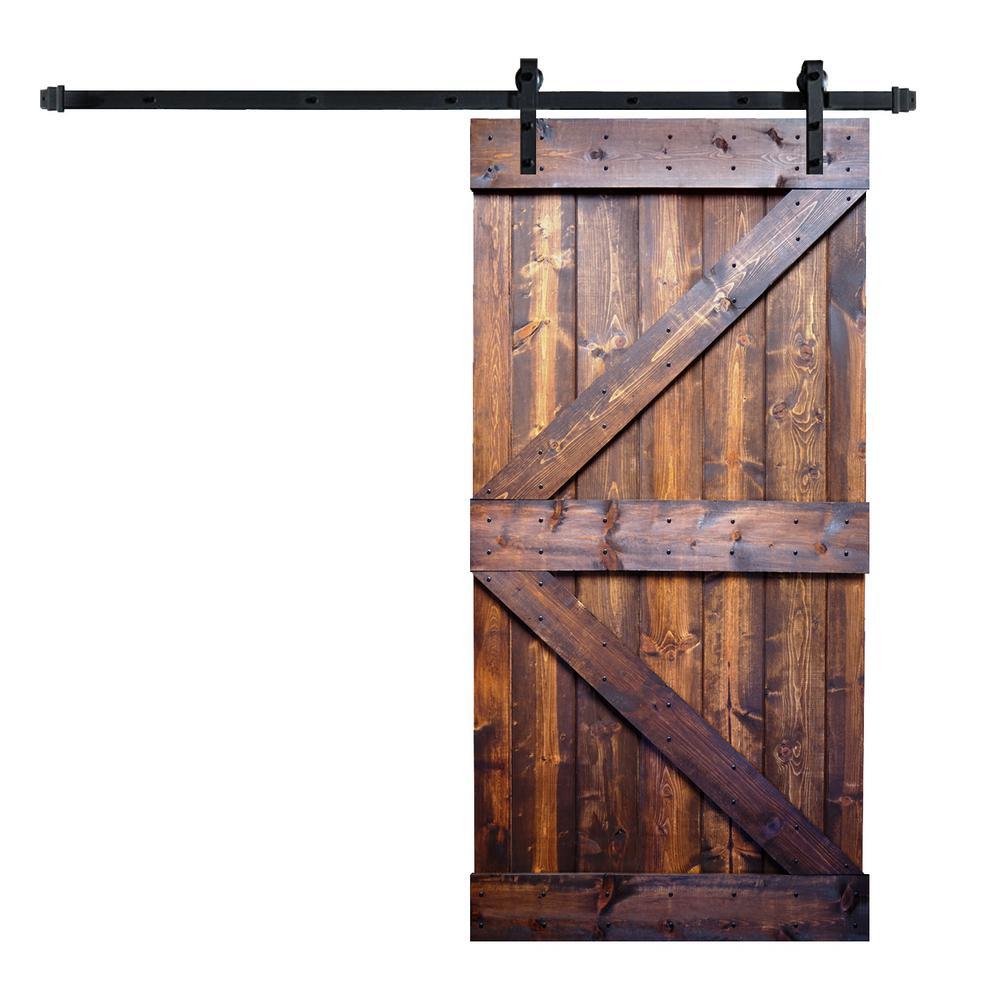 42 in. x 84 in. K-Series Dark Walnut DIY Finished Knotty Pine Wood Sliding Barn Door Slab with Hardware Kit