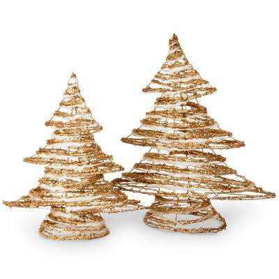 Rattan Christmas Tree Set - Height 16 in and 20 in.
