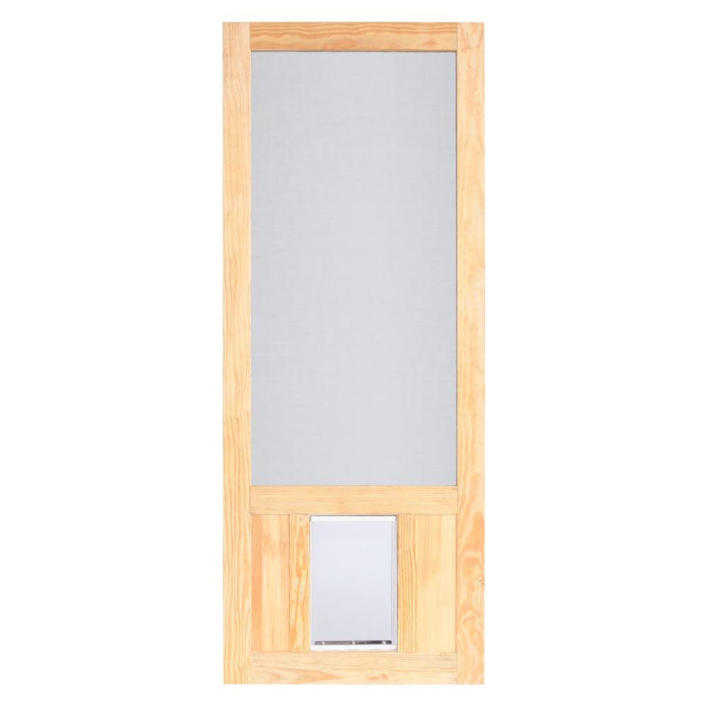 Screen Tight 32 In X 80 In Chesapeake Series Reversible Wood Screen Door With Extra Large Pet Flap Wcpk32xl The Home Depot
