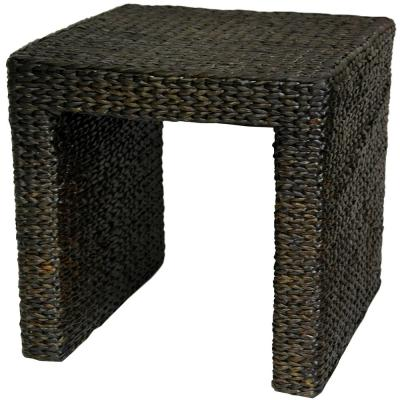 Rush Grass Black End Table