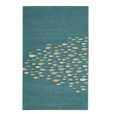 School Aruba Blue 9 ft. 6 in. x 13 ft. 6 in. Area Rug