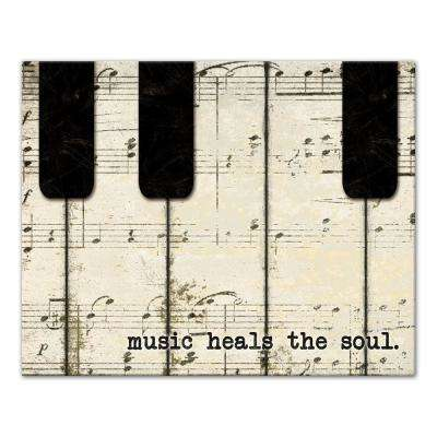 24 in. x 30 in. ''Piano Keys And Music'' Printed Canvas Wall Art