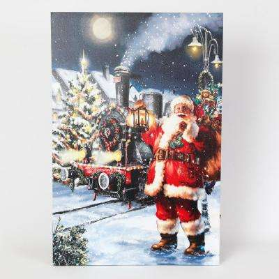 24 in. Winter Wonderland Santa Print with LED Lights