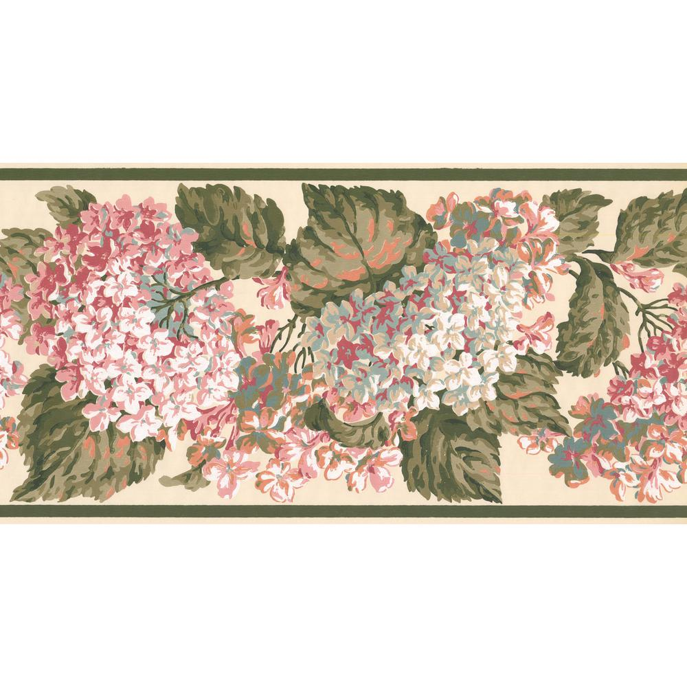 York Wallcoverings White Pink Hydrangea Hortensia Floral Prepasted