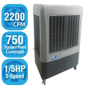Click here to buy Hessaire 2,200 CFM 3-Speed Portable Evaporative Cooler for 750 sq. ft. by Hessaire.