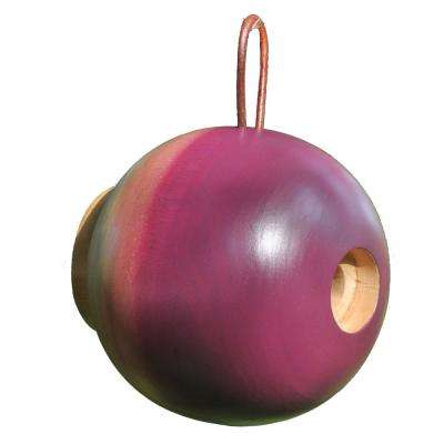 8 in. Plum Mango Wood Globe Bird House