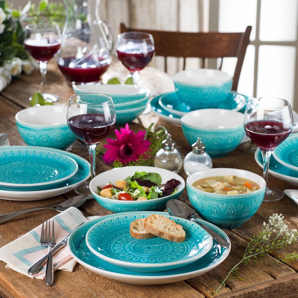 Fez 20-Piece Turquoise Crackle-Glaze Stoneware Dinnerware Set, Service for 4