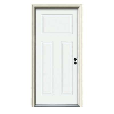 34 in. x 80 in. 3-Panel Craftsman White Painted Steel Prehung Left-Hand Inswing Front Door w/Brickmould
