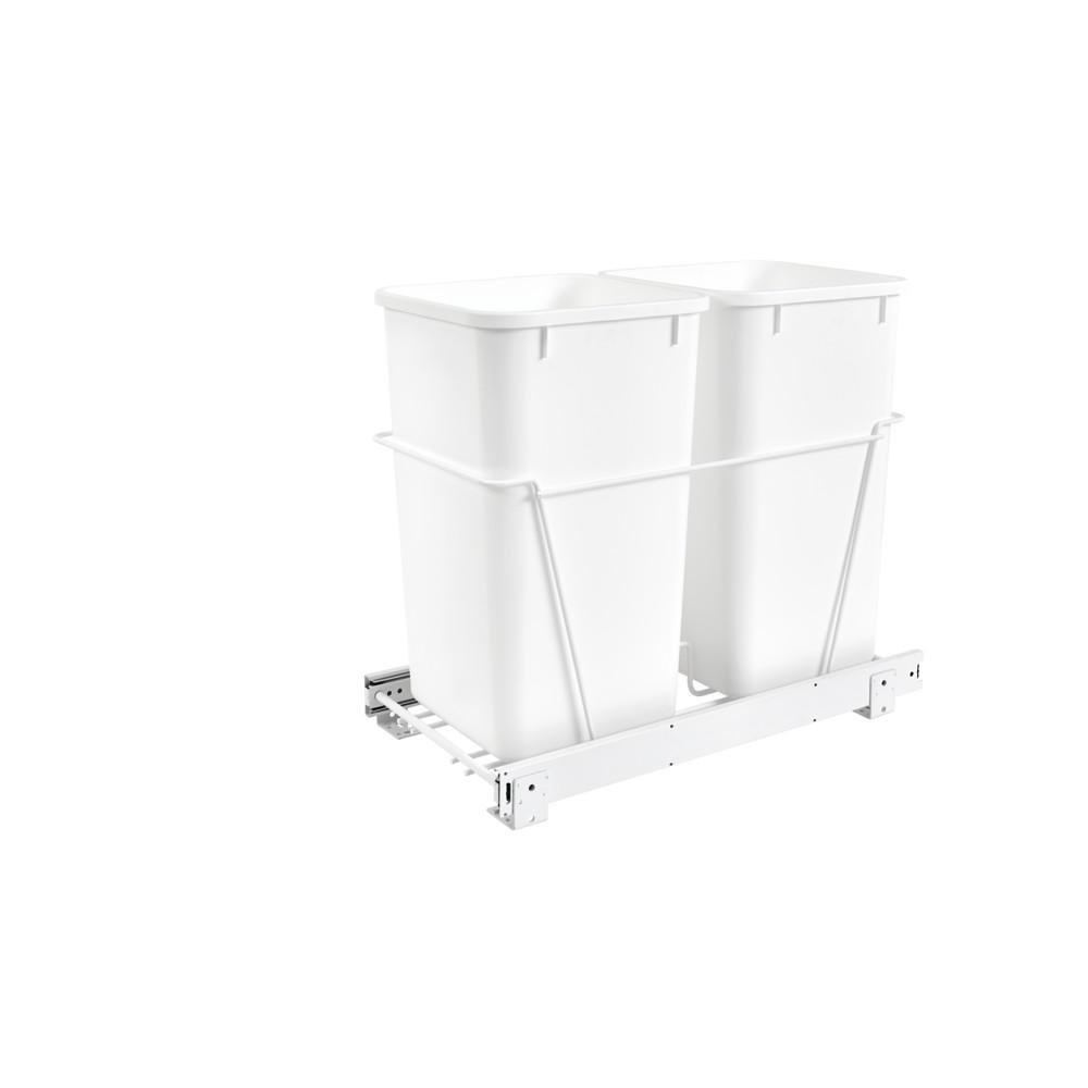 Rev-A-Shelf 19.25 in. H x 11.81 in. W x 22.25 in. D Double 27 Qt. Pull-Out White Waste Containers with Full-Extension Slides