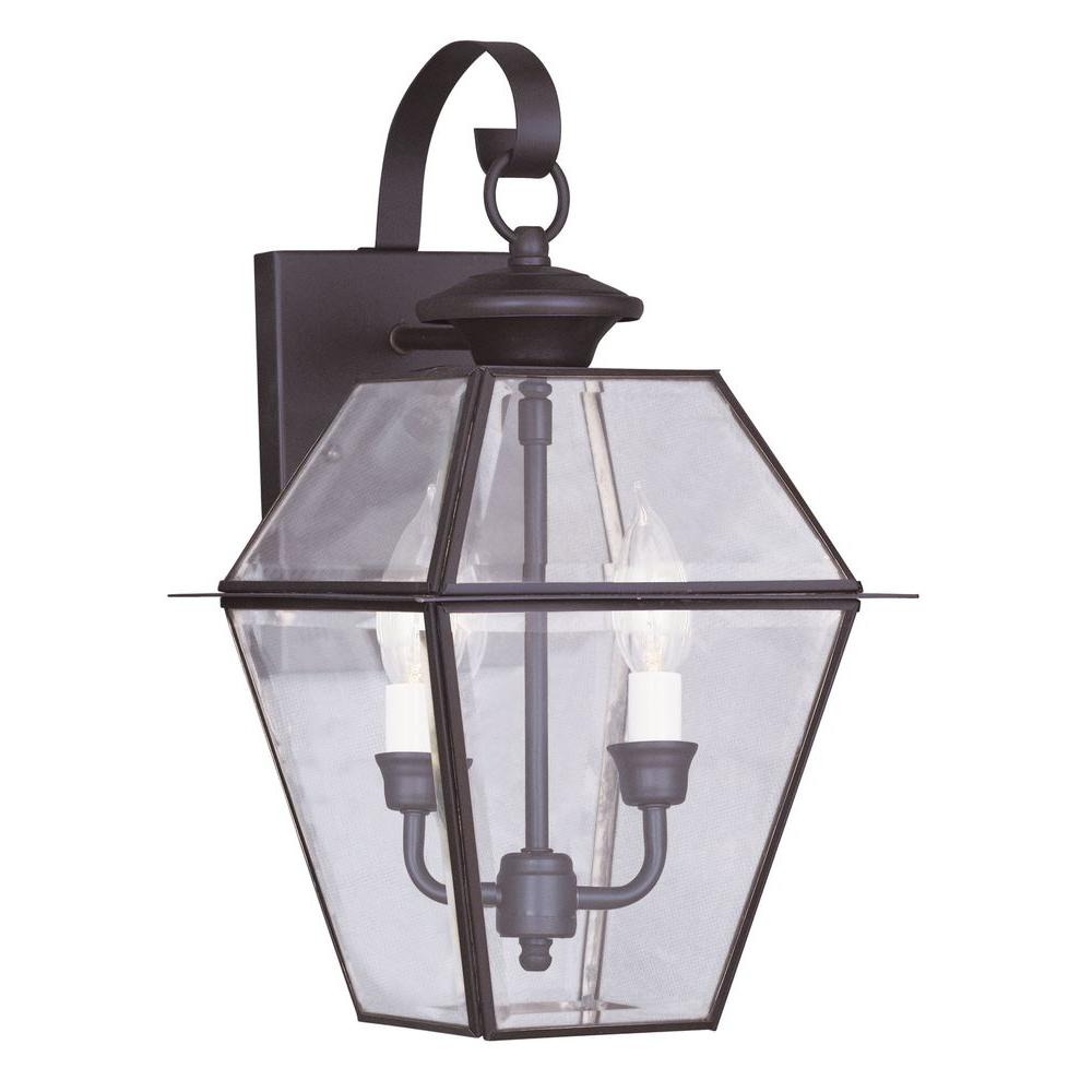2-Light Lantern Bronze Outdoor Wall with Clear Beveled Glass