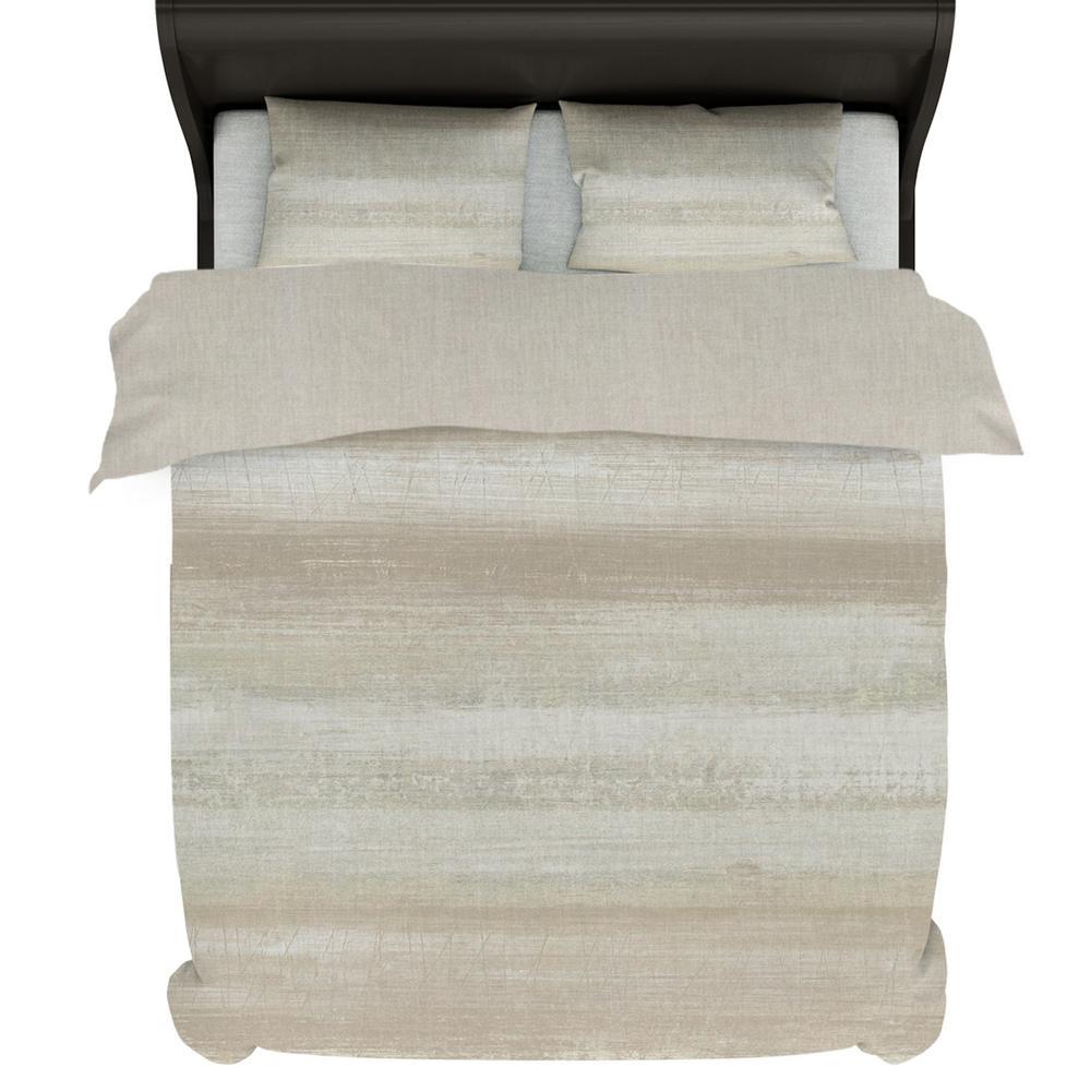 A1HC Coastline 6-Piece Beige Reversible Print 100% Organic Cotton Wrinkle Resistant Queen Home Bundle