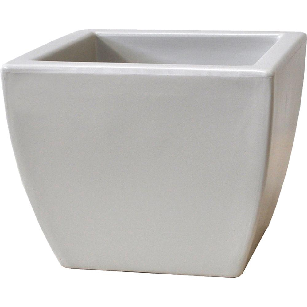 Toscana 16 in. White Plastic Square Patio Planter