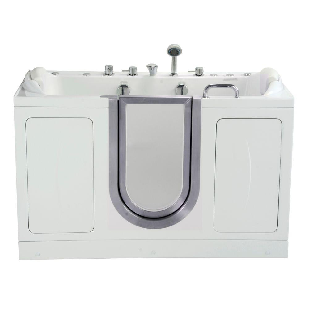 Ella Companion Two Seat 5 ft. x 30 in. Acrylic Walk-In Dual (Air and Hydro) Massage Bathtub in White with Center Drain/Door