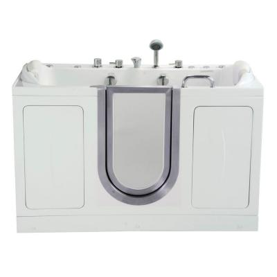 Companion Two Seat 5 ft. x 30 in. Acrylic Walk-In Dual (Air and Hydro) Massage Bathtub in White with Center Drain/Door