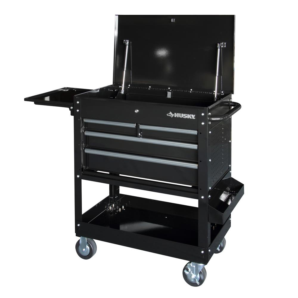 Husky Tool Cart >> Husky 33 in 4-Drawer Mechanics Cart with Extended Side