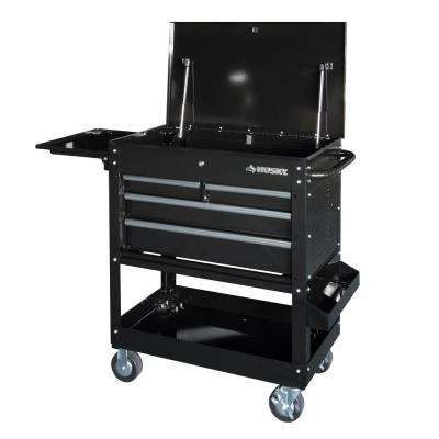 3304 Mechanics Cart with Extended Side Table and Bottle Tray