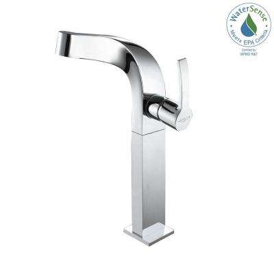 Typhon Single Hole Single-Handle High-Arc Vessel Bathroom Faucet in Chrome