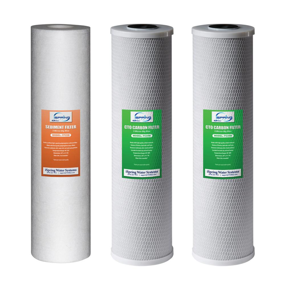 3-Stage 20 in. 3-Piece Big Blue Whole House Replacement Filter Pack