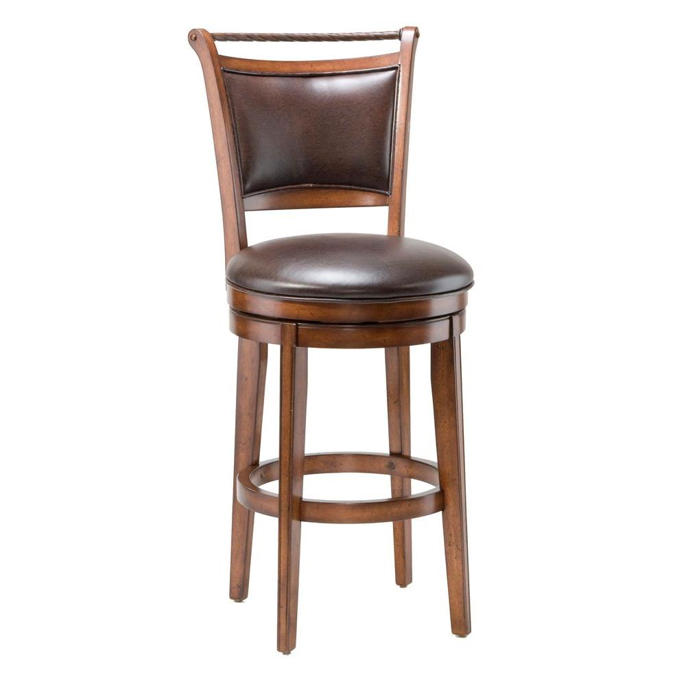 Hilale Furniture Calais 30 In Swivel Bar Stool With A Brown Faux Leather Seat