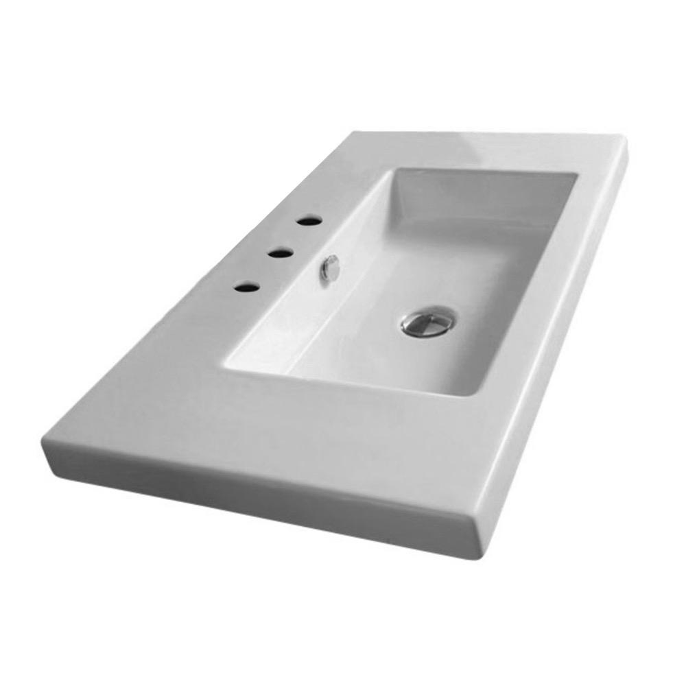Nameeks Cangas Ceramic Console Bathroom Sink in White with 3 Faucet Holes and Chrome Stand