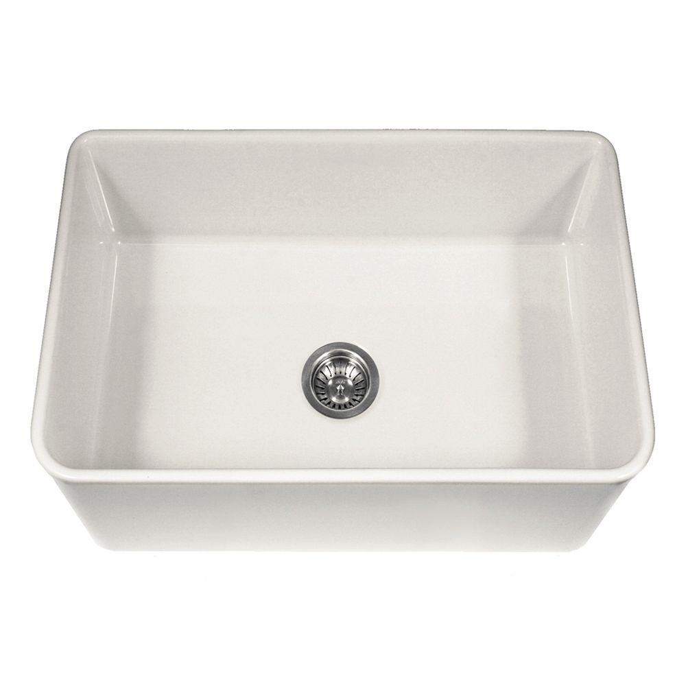 Platus Series Farmhouse Apron Front Fireclay 30 in. Single Bowl Kitchen Sink in White