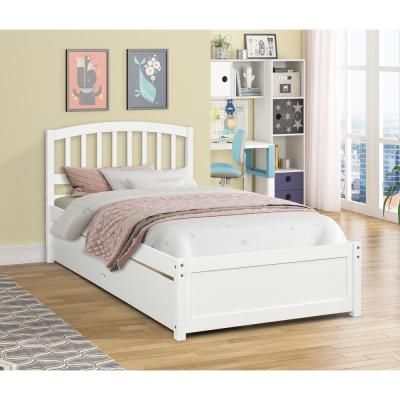 Twin White Platform Bed with 2 Storage Drawers And Solid Wood Bed Frame No Need For Box Spring