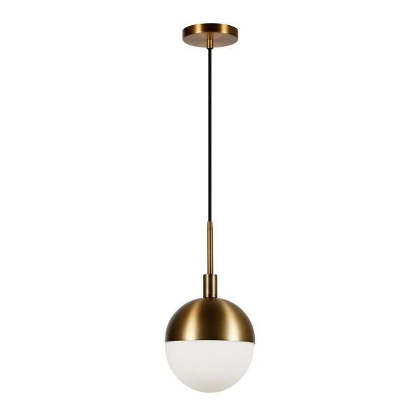 Orb 1-Light Small Globe Brass and Frosted Glass Pendant