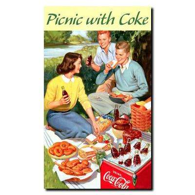 14 in. x 24 in. Picnic with Coke Canvas Art